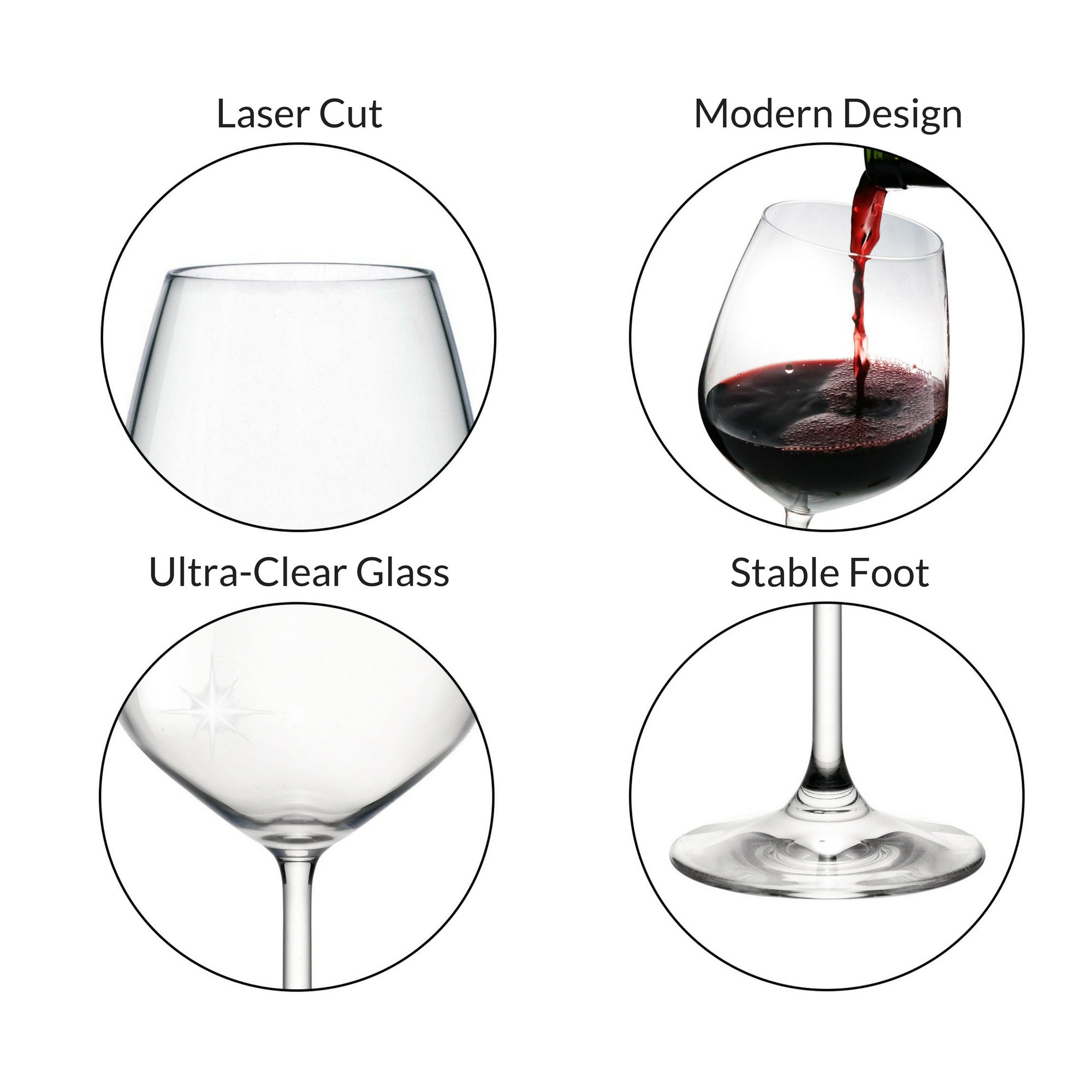 Bormioli Rocco 18oz Red Wine Glasses (Set Of 4): Crystal Clear Star Glass, Laser Cut Rim For Wine Tasting, Lead-Free Cups, Elegant Party Drinking Glassware, Dishwasher Safe, Restaurant Quality by Bormioli Rocco (Image #2)