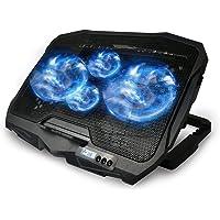 Maxesla Base Refrigeradora Portatil, 4 Ventiladores silenciosos y Pantalla LCD Ventilador Portatil, 2 Puertos USB y luz…