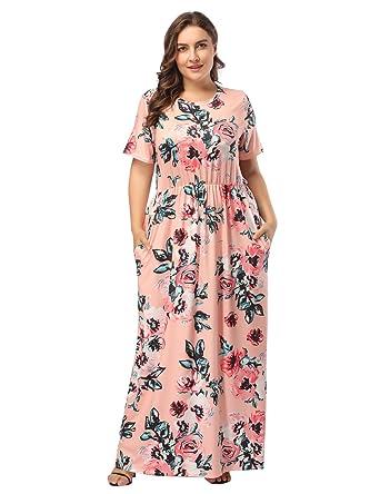 6e99f2f33f9 DANALA Plus Size Floral Print Short Sleeve Scoop Neck Cocktail Dress Orange  XL