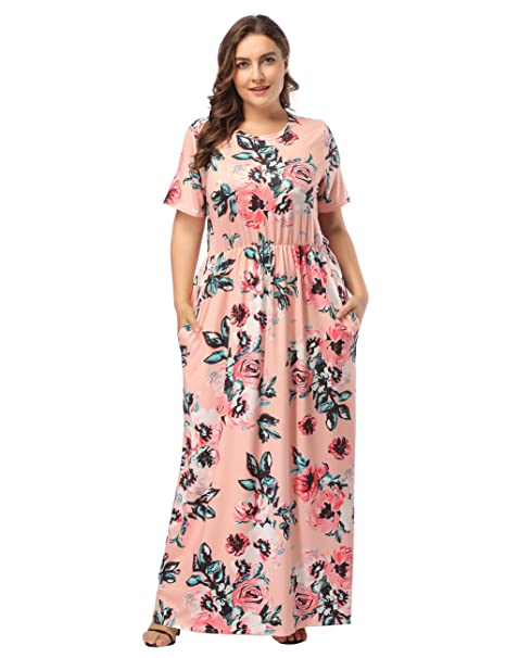DANALA Plus Size Dress Floral Print Short Sleeve Party Maxi Dress with  Pockets