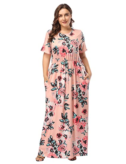 1c552256275b DANALA Plus Size Floral Print Short Sleeve Scoop Neck Cocktail Dress Orange  XL
