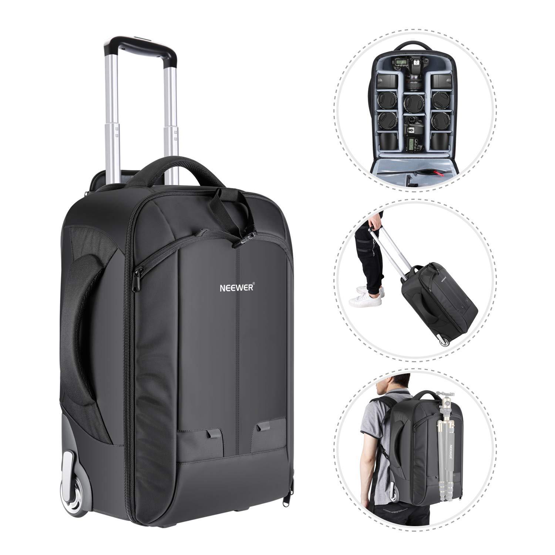 Neewer Convertible Rolling camera zaino per fotocamere SLR//DSLR e accessori /nero / NW3300