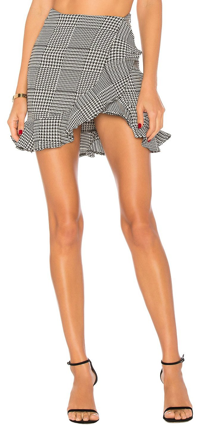 Lovers+Friends Affection Skirt Houndstooth Plaid (SM)
