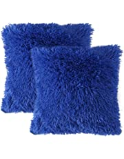 MIULEE Pack of 2 Faux Fur Throw Pillow Cover Fluffy Soft Decorative Square Pillow covers Plush Case Faux Fur Cushion Covers For Livingroom Sofa Bedroom Car 18 x 18 Inch 45 x 45 cm