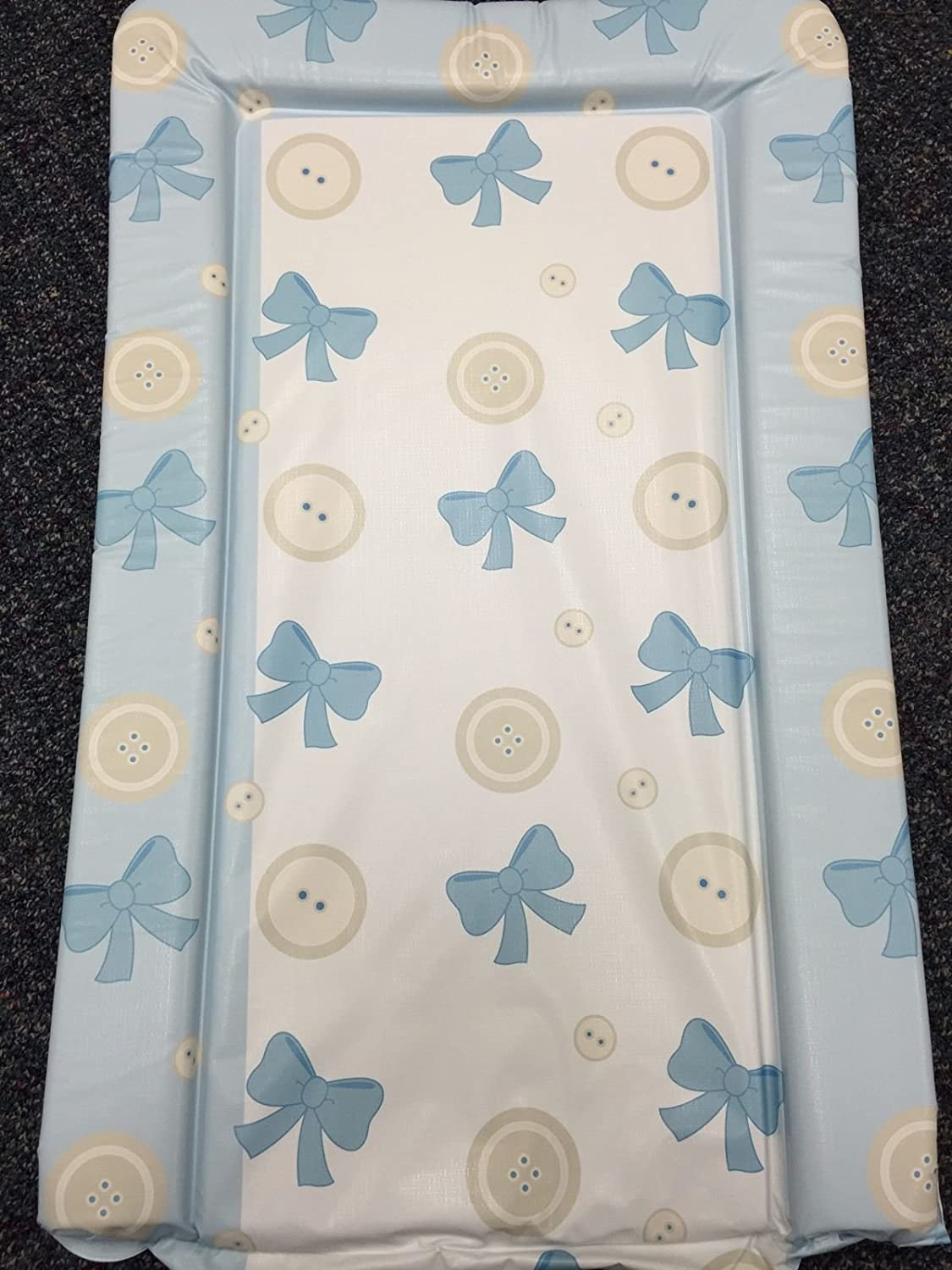 Buttons /& Bows Design Deluxe Unisex Baby Waterproof Changing Mat with Raised Edges Blue
