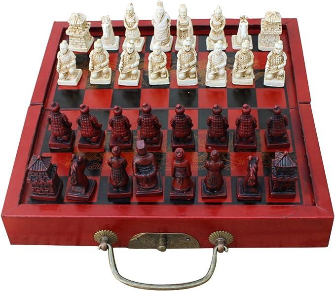 Sharplace Ajedrez Chino Antiguo - Tablero Caja Plegable de Madera, Figura de Tamaño Pequeño de Resina - 21 x 20.5 x 3 cm: Amazon.es: Juguetes y juegos