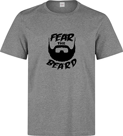 0500d7b805b9 Nothingtowear Fear The Beard Funny Slogan Gray Printed Men t-Shirt ...