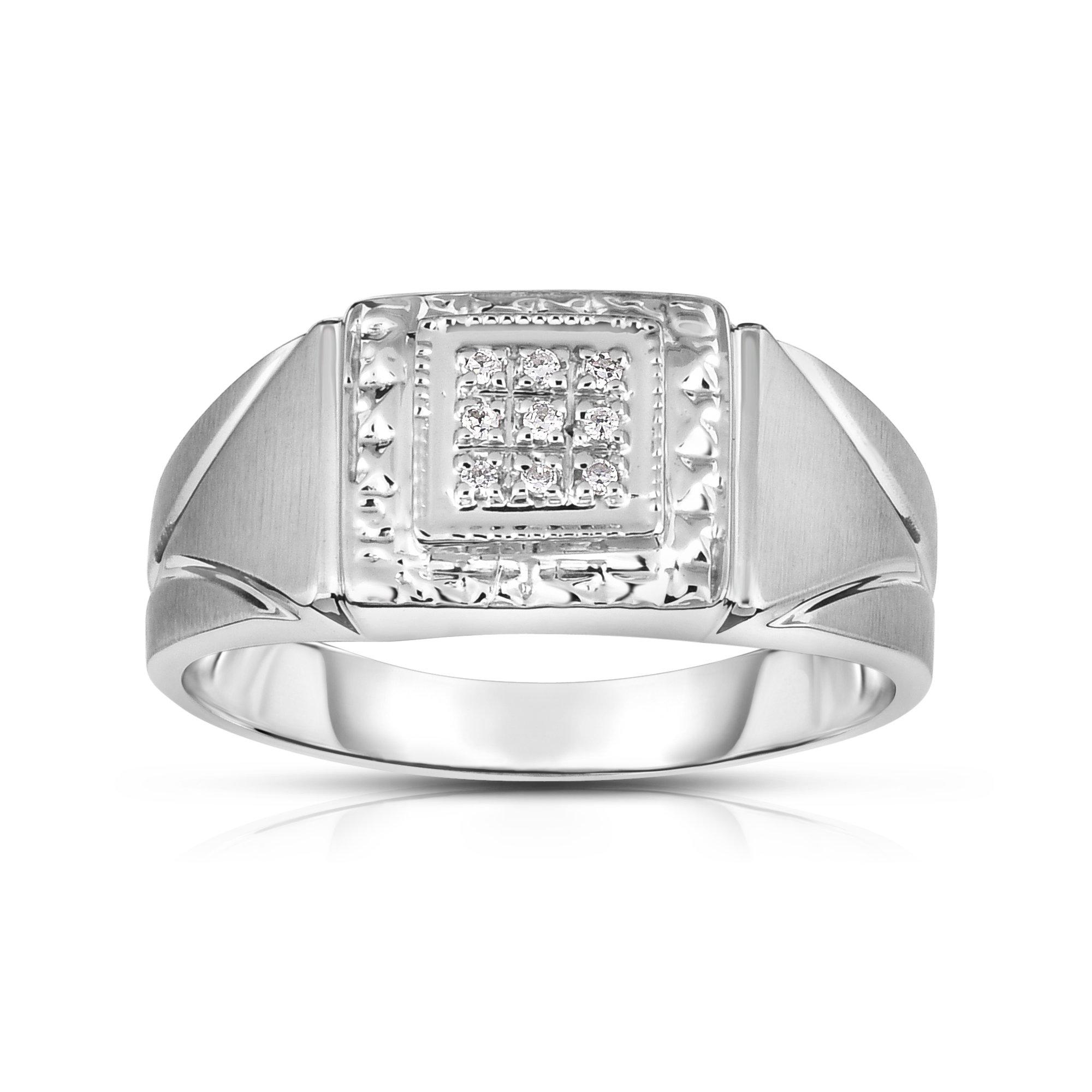 Noray Designs 14K White Gold Diamond (0.05 Ct, I1-I2 Clarity, G-H Color) Men's 9-Stone Ring