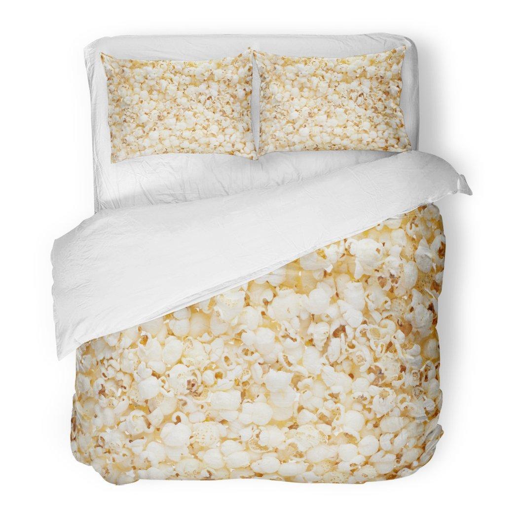 SanChic Duvet Cover Set Yellow Movie Popcorn Simple Entertainment White Closeup Salt Decorative Bedding Set with 2 Pillow Shams Full/Queen Size