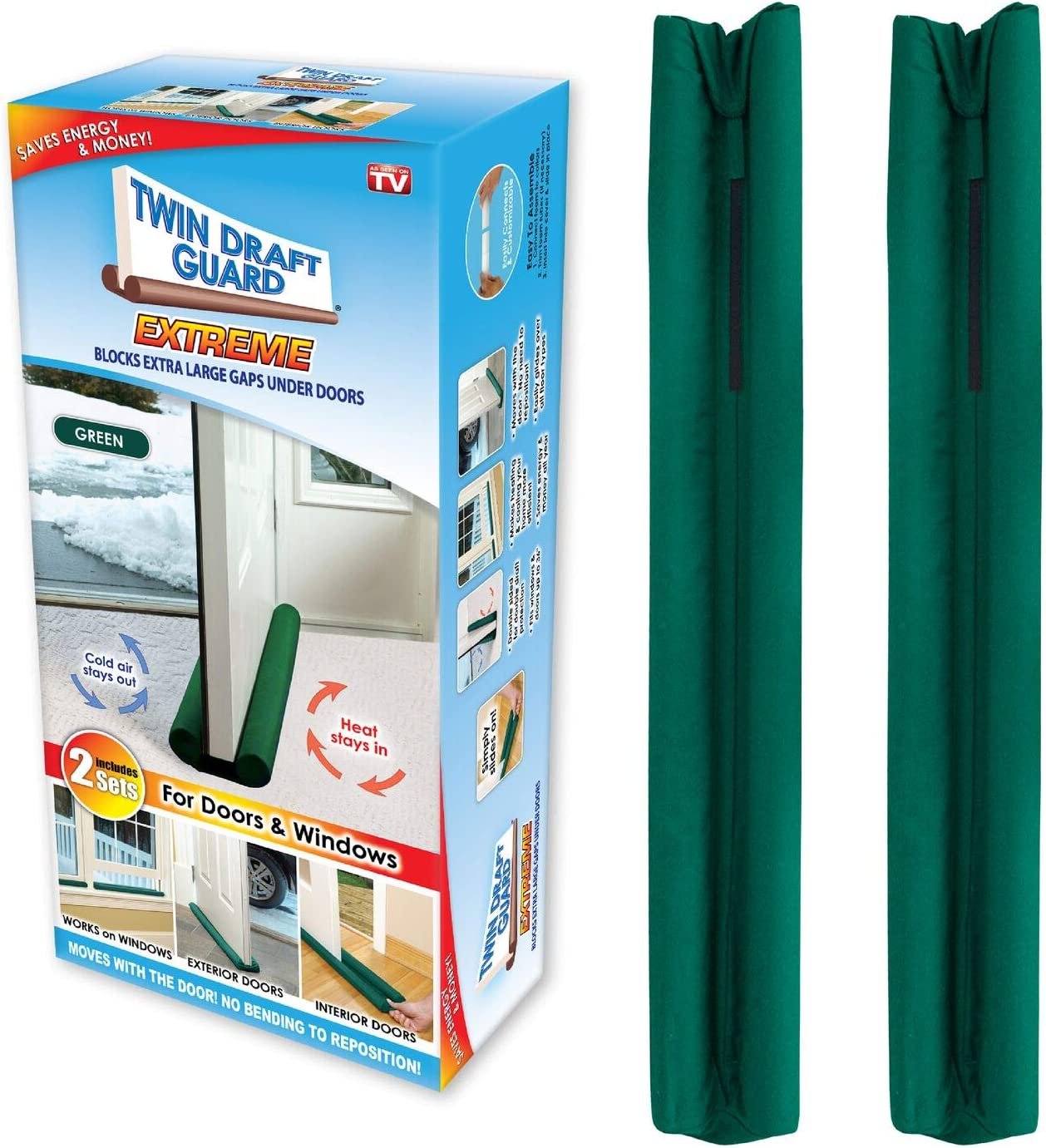 Green Twin Draft Guard 60226-DNA Energy Saving Under Door Draft Stopper Set of 2