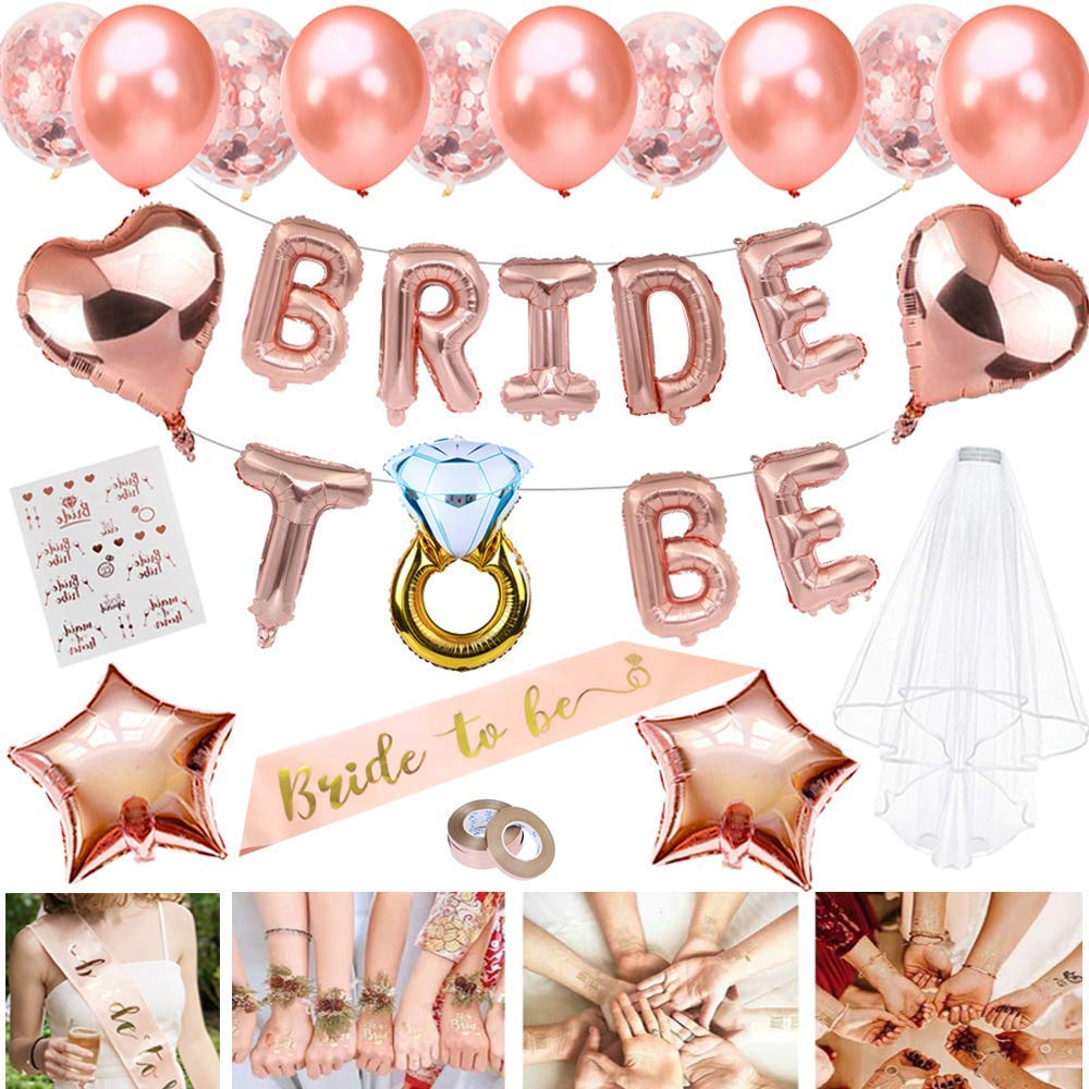MMTX Bride to Be Sash Veil Rose Gold Balloons Hen Party Decoration Accessories for Bachelorette Bridal Party,Confetti Balloons Badge Star Heart Foil Balloons Tattoos for Bridal Shower Hen Night Party (B0831H4T2M) Amazon Price History, Amazon Price Tracker