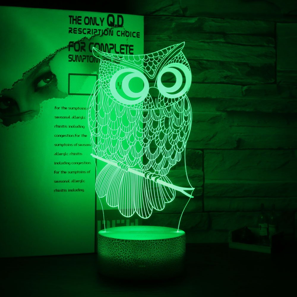 Gift Ideas Owl Night Lights 3D Illusion Lamp Animal Light Led Desk Lamps Anniversary Gifts for Baby Kids Home Decor Office Bedroom Wedding Party Decorations Nursery Lighting 7 Color Crackle Paint Base