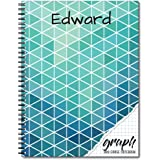 Graph Personalized Reusable Dry-Erase Spiral Notebook, 12 Sheets/24 Pages, durable laminated cover and interior pages, and wire-o spiral, 8.5x11, Made in the USA