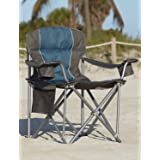 LivingXL 500-lb. Capacity Heavy-Duty Portable Oversized Chair, Collapsible Padded Arm Chair with Cup Holders and Lower Mesh S