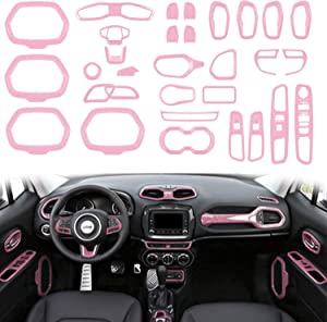 Opall ABS Interior Parts Decoration Door Sound Speaker Audio Ring Dashboard Air Vent Frame Outlet Steering Wheel Buttons Sequins Steering Wheel U-Shaped Door Cover for Jeep Renegade