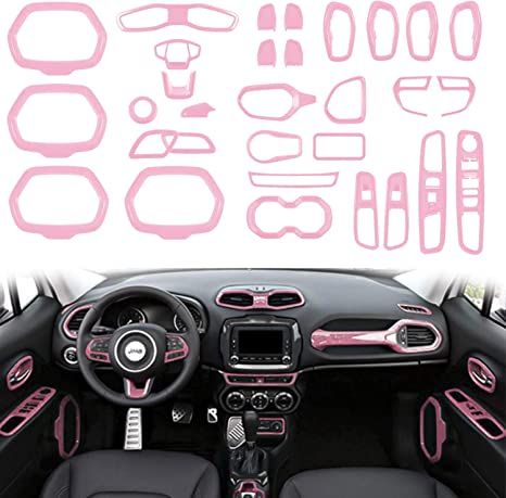 Opall ABS Interior Parts Decoration Door Sound Speaker Audio Ring Dashboard Air Vent Frame Outlet Steering Wheel Buttons Sequins Steering Wheel U-Shaped Door Cover for Jeep Renegade 2015-2018 31PCS