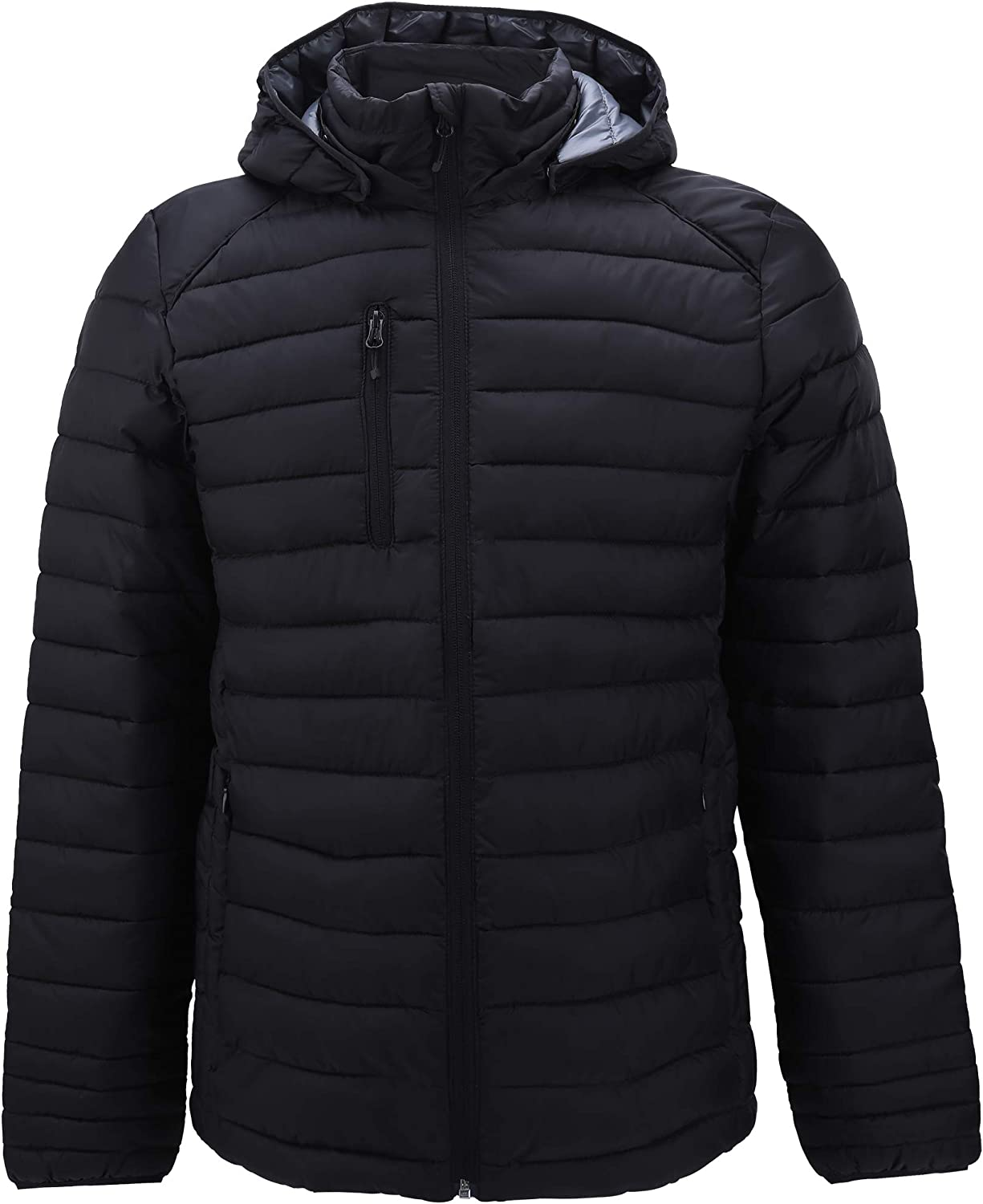 Mens Down Alternative Jacket Quilted Lightweight Packable Padding Coat with Detachable Hood: Clothing