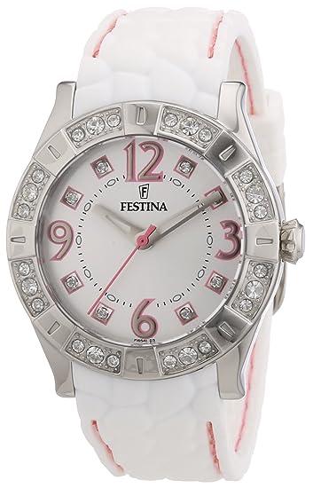 Festina F16541/3 - Reloj analógico de Cuarzo para Mujer con Correa de Caucho, Color Blanco: Festina: Amazon.es: Relojes