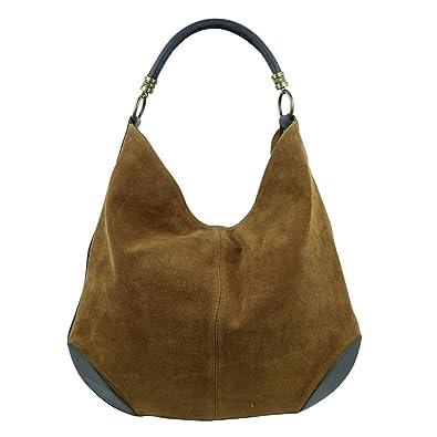 10d11a94579ee Freyday Damen Leder Tasche Henkeltasche Schultertasche mit Kroko Schlangen  oder Blumen Prägung (Cognac)  Amazon.de  Schuhe   Handtaschen