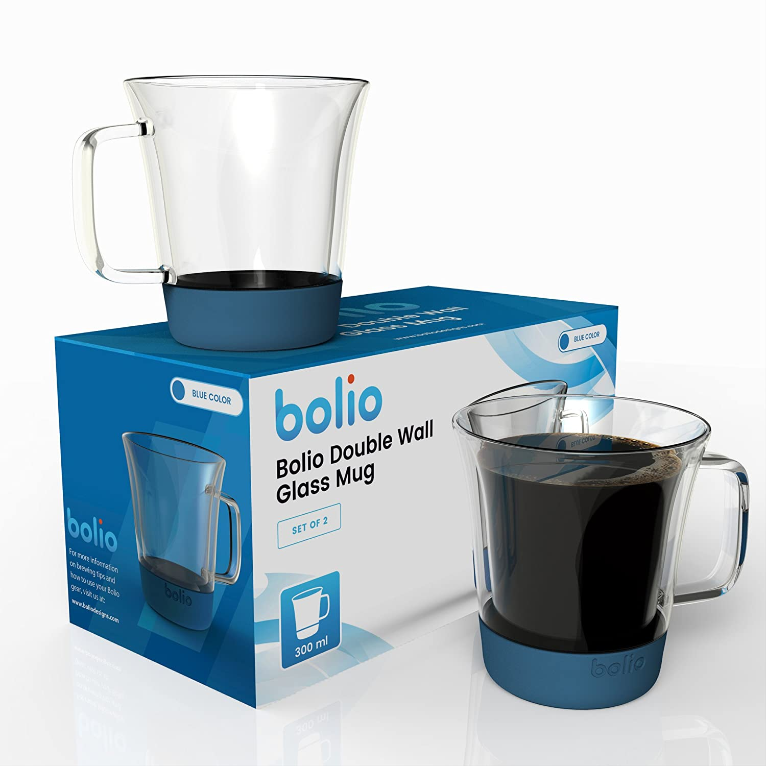 Amazon.com: Bolio - Double Wall Glass Mug - Set of Two- Features A ...