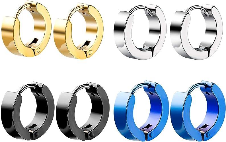 pendientes de aro de acero inoxidable hipoalergénico,WolinTek 4 pares pendientes de tamaño pequeño: Amazon.es: Joyería