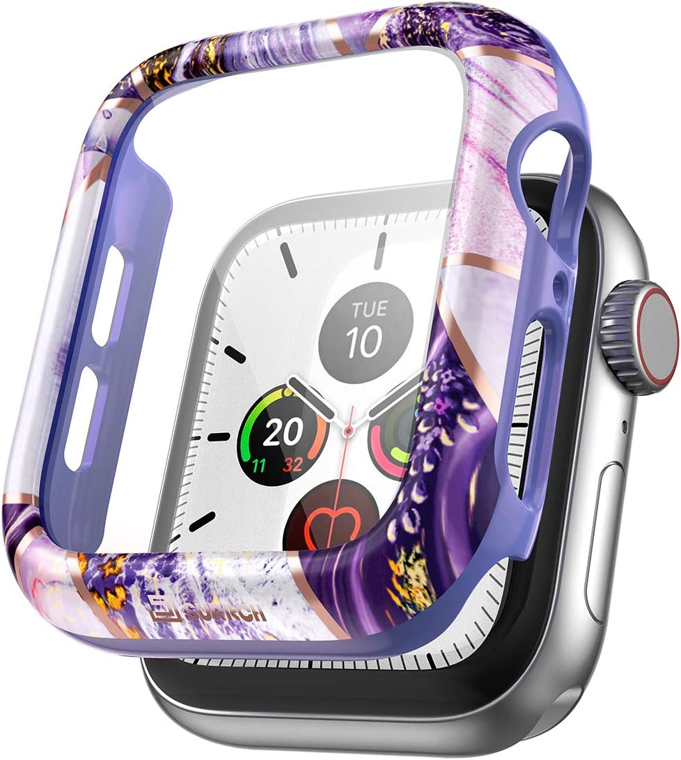 SURITCH Case for Apple Watch Series 6/5 /4 /SE 40mm Built in Tempered Glass Screen Protector HD Clear Shockproof Slim Bumper Hard PC Full Protective Cover for iwatch Series 6/5/4/SE(Lavender Marble)