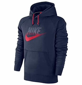 89c1eb779a52 Image Unavailable. Image not available for. Color  NIKE Men s AW77 Futura  Fleece Pullover Hoodie-Navy Red
