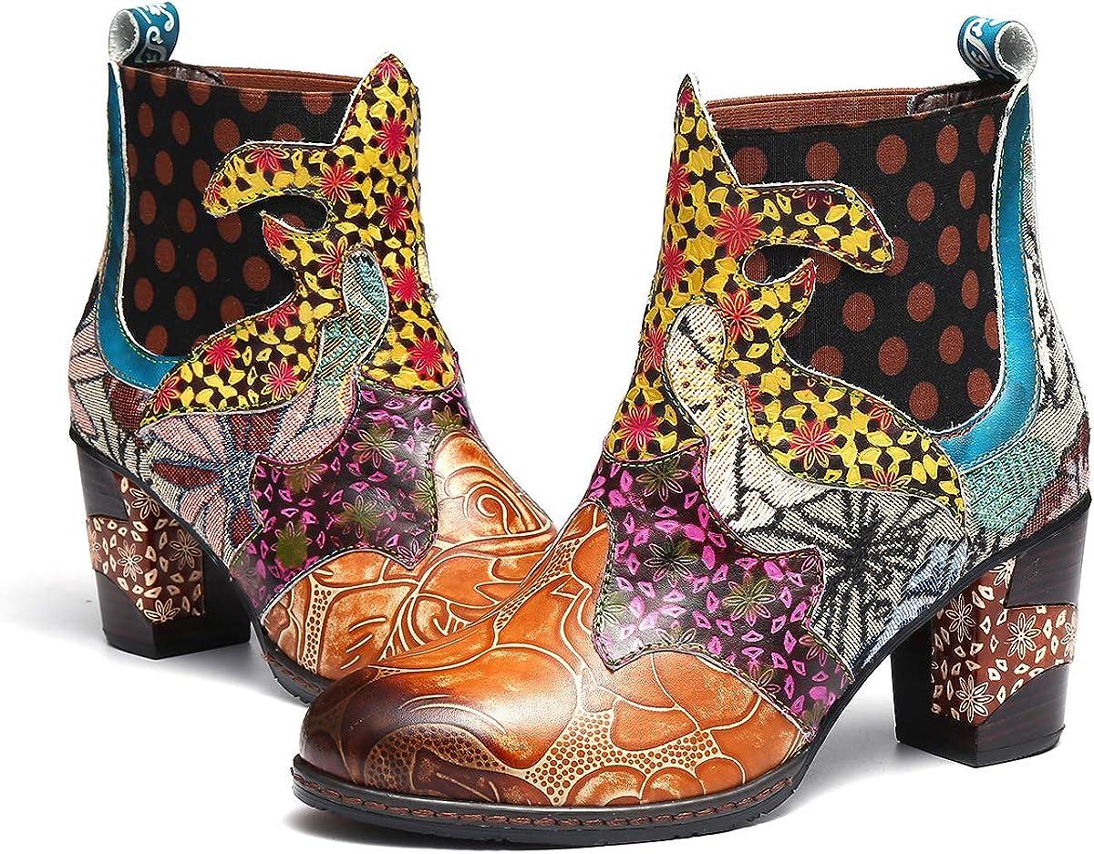 gracosy Botines de Mujer 2019 Cuero Invierno Tacon Alto Forro de Piel Botas de Botas de Nieve Botas de Bajo Zapatos Chelsea Hecho a Mano Color Tela de Colores