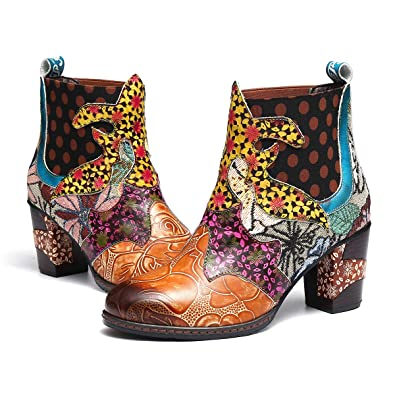 3a70dcdd79c4f gracosy Women's Leather Ankle Bootie Shoes Winter Warm Snow Boots Ladies  Retro Handmade Bohemian Splicing Pattern Boots Mid Block Chunky Heel  Cowgirl ...