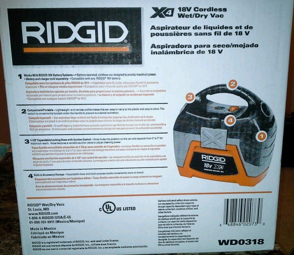Ridgid 18-Volt Cordless Wet/Dry Vacuum (Tool-Only) by Ridgid