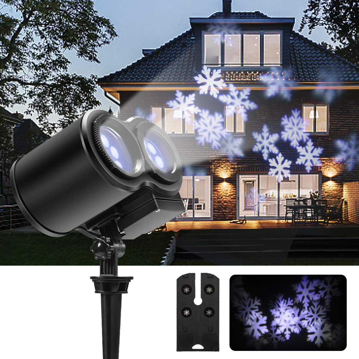 8W Christmas Projector Lights, GreenClick LED Xmas Projector Lights Double Head Snowflake Lights Projector with 8 LED Waterproof Spotlight Projector for Holiday Halloween Birthday Wedding Parties GreencClick