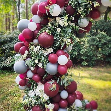 Amazoncom Partywoo Burgundy Gray White Balloons 80 Pcs Balloon