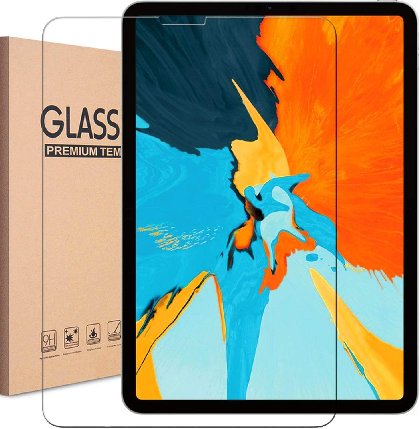 iPad Pro 11 1st/2nd Gen Screen Protector, KIQ Tempered Glass Protective Screen Self-Adhere Bubble-Free Cover For Apple iPad Pro 11-inch (2018/2020) 1st 2nd Generation