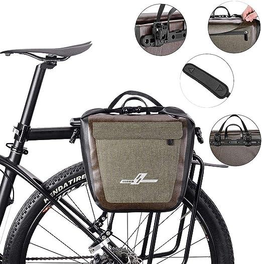 Ecisi Bolsa de Maletero Impermeable para Bicicleta de 18L Alforjas de Bicicleta con Ganchos Ajustables y Correa para el Hombro extraíble, Estante para Bicicleta Bolsa de Transporte Trasero Alforja: Amazon.es: Deportes y