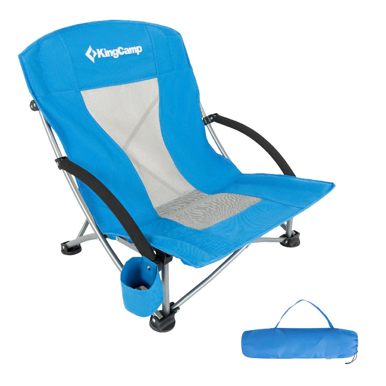 KingCamp Lowスリングビーチキャンプ折りたたみ椅子withメッシュバック B0796N7RBN ブルー ブルー