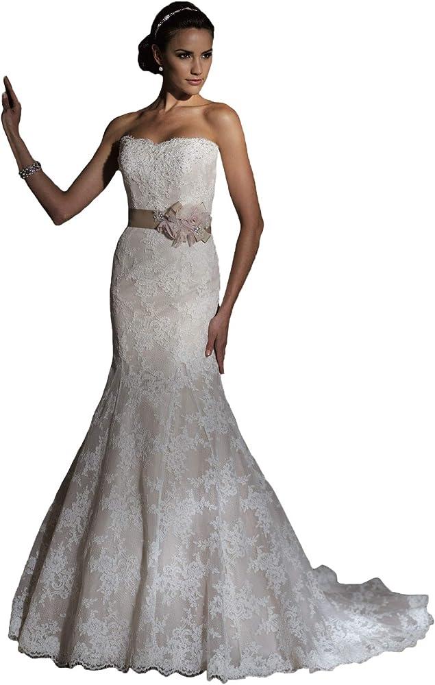 Amazon Com David Tutera Strapless Lace Wedding Dress With Sash Ivory Size 8 With Detachable Train Clothing,Budget Wedding Dresses Brisbane