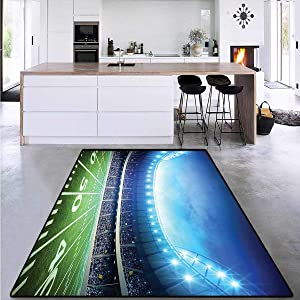 Football, Door Mats Area Rug, Photo of American Stadium Green Grass Arena Playground Bleachers Event Match, for Bedroom 6' x 9' Blue Green White