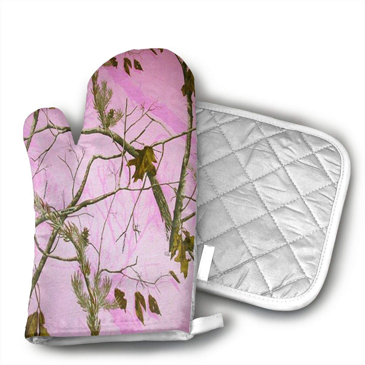 UYRHFS Pink Realtree Camo Oven Mitts and Pot Holder Kitchen Set with, Heat Resistant, Oven Gloves and Pot Holders 2pcs Set for BBQ Cooking Baking