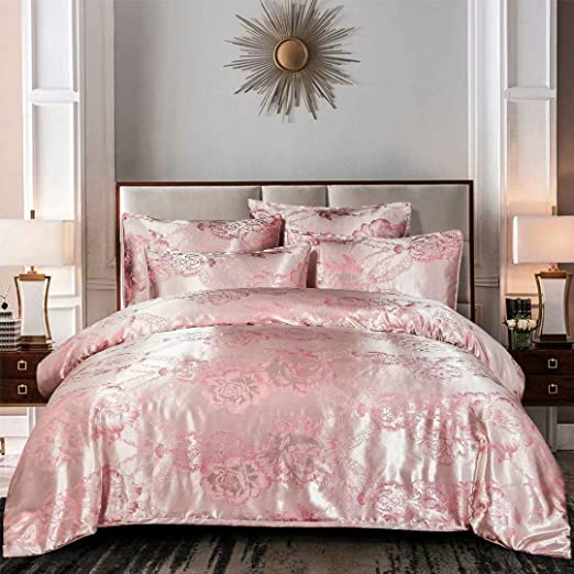 Amazon Com Boloni Dress Jacquard Duvet Covers Queen Size Pink Peony Floral Printed Comforter Set For Girls Women European Style Damask Bedding Sets With 2 Pillowcases 3 Pieces Pink Champagne Home Kitchen