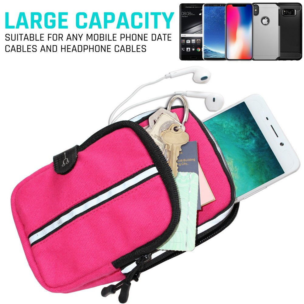 LOVPHONE Sports Armband, Double Pockets Phone Running Armband for iphone X/8/8 Plus/7/7 Plus, Samsung Galaxy Note 8/S8/S8 Plus/S7, Water Resistant (Rosy, 7.0-12.8inch)
