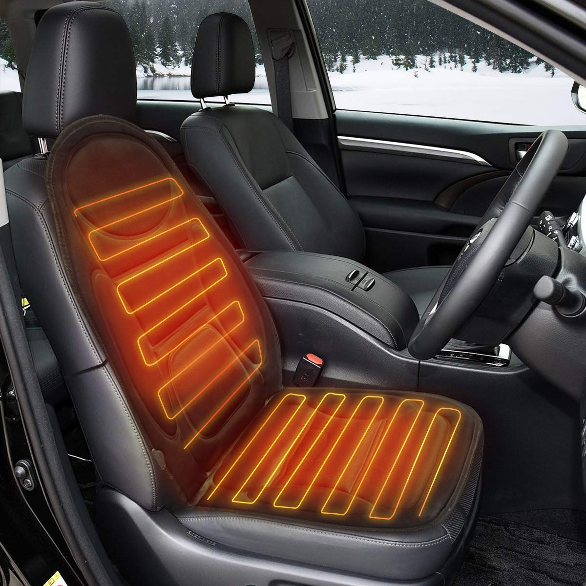 Tvird Heated Car Seat, 12V Car Heated Seat Cover Car Seat Warmer with 3-Way Temperature Controller, Heated Seat Cushion Car Heater (Black) Baogujasy TVIRDYUYUEWUEDFU25