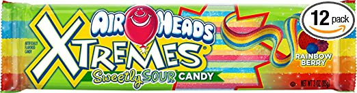 Airheads Xtremes Sour Candy, Rainbow Berry, 3 Ounce (Pack of 12)
