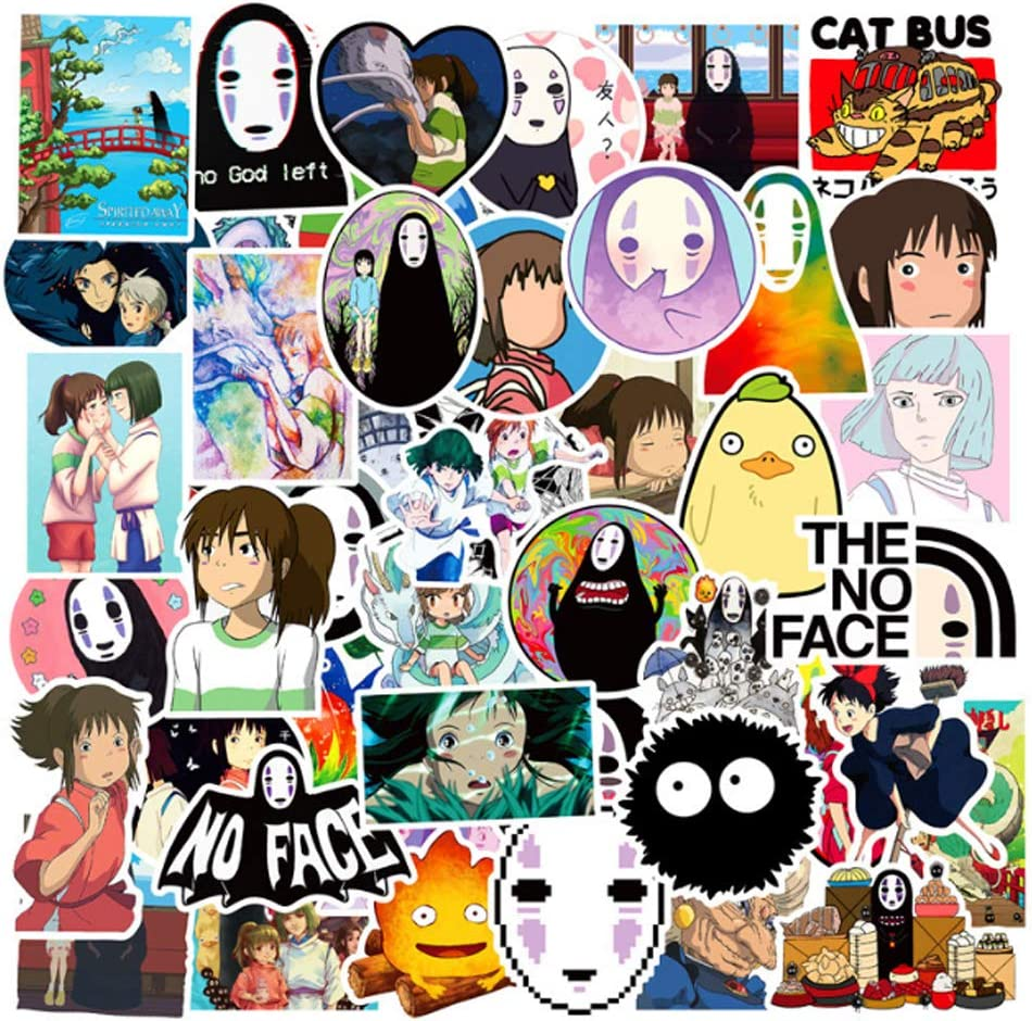 Cute Japan Anime Spirited Away Sticker Pack 50Pcs Laptop Sticker My Neighbor Totoro No Face Man Cartoon Waterproof Stickers for Skateboard Pad Snowboard Car Bicycle Luggage Decal (50Pcs-A)