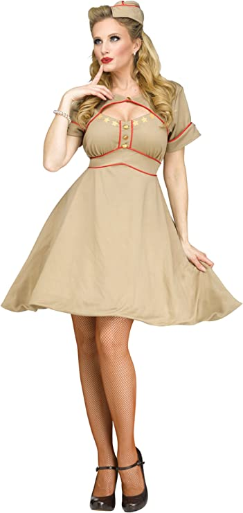 1940s Costumes- WWII, Nurse, Pinup, Rosie the Riveter Fun World Womens Army Gal Costume $44.99 AT vintagedancer.com