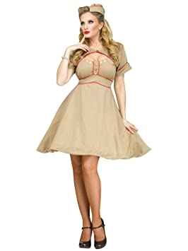 38d3789c9d65 Army 1940s Ladies Fancy Dress Womens Military WW2 Uniform Adults Costume  Outfit (Small   Medium