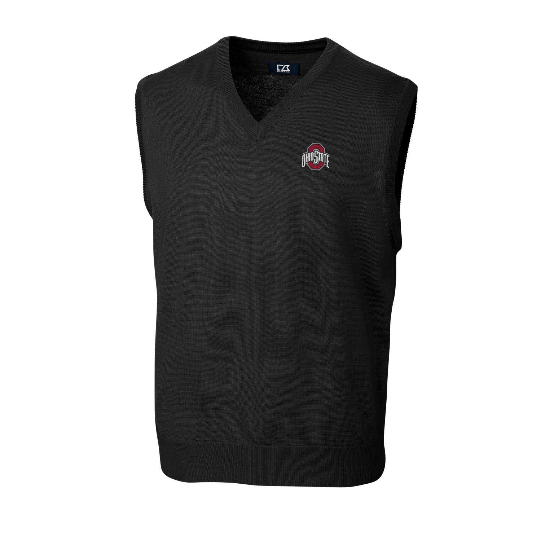 Cutter & Buck NCAA Ohio State Buckeyes Douglas V-Neck Sweater Vest, S by Cutter & Buck