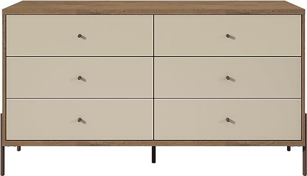 Manhattan Comfort Joy Series 2 Tone 6 Drawer Bedroom Dresser, Off-White