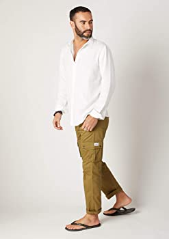 Wash Clothing Company Mens Loose Fit Cargo Pants Organic Cotton Olive Lightweight Trousers