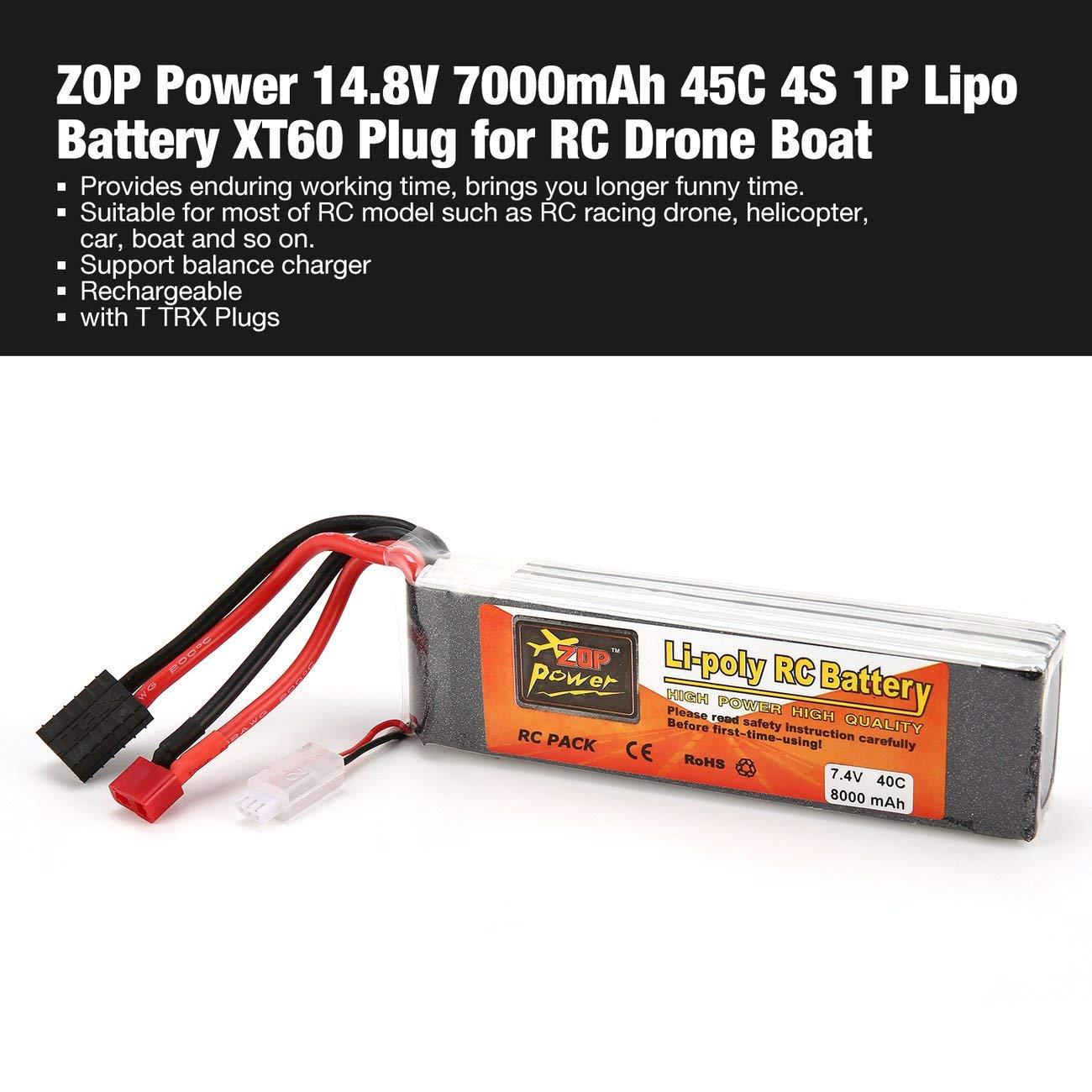 Elviray 7.4V 8000mAh 40C 2S 1P Lipo Batería T TRX Enchufe ...