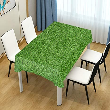 Amazon Com Bolimao Artificial Green Grass Rectangular Tablecloth Tabletop Decor For Dinner Kitchen Party Wedding Holiday Polyester Dust Proof Tablecover 54 X54 Home Kitchen